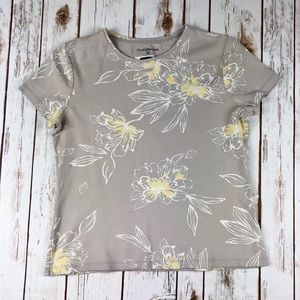 Croft & Barrow Gray & Yellow Floral T-Shirt